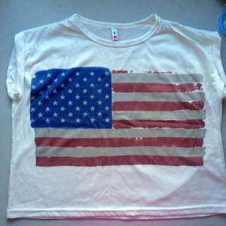 White Casual American Flag Crop Top #Bajet20