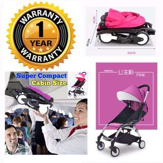 Pink Compact Cabin Size Pram/Stroller