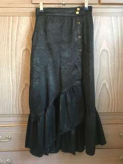 Black Satin Asymmetrical Midi/Maxi Skirt