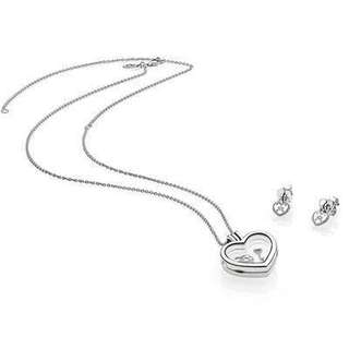PANDORA LOCK YOUR PROMISE FLOATING HEART LOCKET & EARRING STUDS SET
