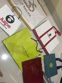 paperbag branded (aape , bape, ted baker, tory , valentino)