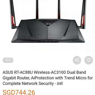 Asus RT-AC88U Router Wireless AC3100 Dual Band Full Set