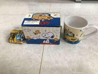 Snoopy (全新)玻璃杯連小毛巾
