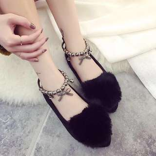 Furry bunny flats with ribbon charm anklet fluffy,fur,covered,toe,shoe,sandal,slipper