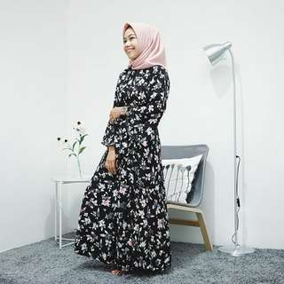 Maxi Dress Gamis Flowers Hitam