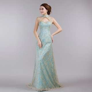 Wedding Evening Dinner Lace Cheongsam Gown for Rental
