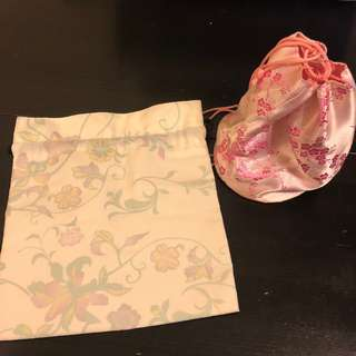 [只求快速賣出~] 全新 購自京都 日本 民族 和服 化妝袋 櫻花 小袋 多用途袋 兩個