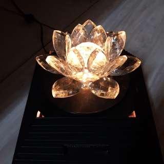 水晶玻璃蓮花彩色旋轉燈