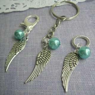 Angel Wing Charm Keychain