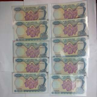 10 Pieces Singapore $50 Orchid Notes Hon Sui Sen Without Red Seal Signature