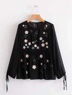 2018 Summer Black Long Sleeve Crew Jacquard Embroidered Shirt Pullover Top