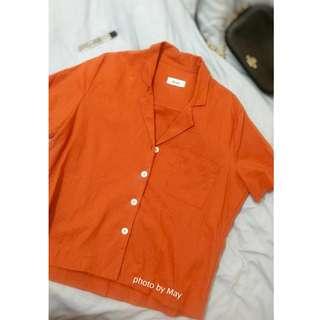 韓版復古短袖襯衫