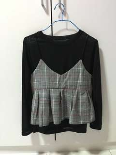 Checkered layer over TOP with black inner shirt