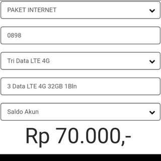Paket Internet Three 4G 32GB