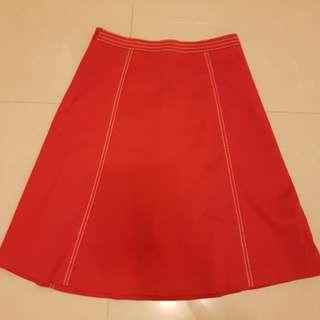 氣質A字紅裙