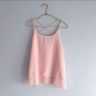 BN pastel pink chiffon flutter cami spag top