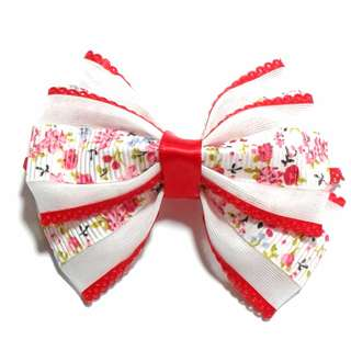 Handmade Korean Style Red Material Lattice Flower Hair Bow Clip