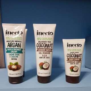 Inecto shower gel and body scrub