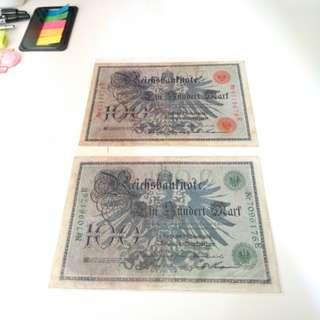 1908 old German Banknote x2