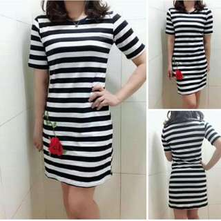 🌸300php 🌺Korean  stripe dress ( floral patch ) 🎉actual picture  🌼cotton  🌷fit S to L  💫One Color 🎀Good Quality 💕