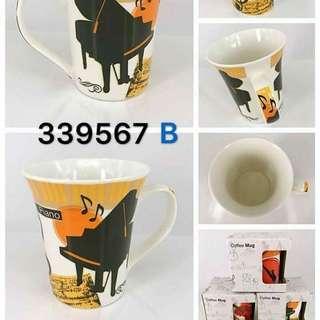 music Cup with box : B- Keyboard Piano 音樂樂器圖案陶瓷杯  B款 - Grand Piano 三角琴, 另有A款 - Violin 小提琴,C款 - Saxophone 色士風。
