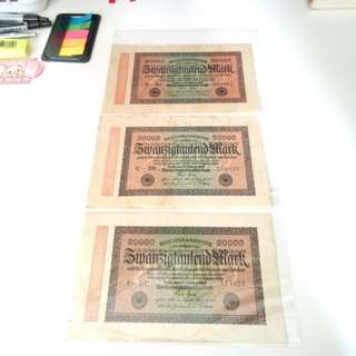 1923 old German banknote x3