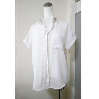 OL 上班族必備 修飾顯瘦 雪紡白襯衫