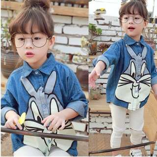 (Ready Stock) Girls Clothing Long Sleeve Shirt Blouse Top Rabbit ( 3-6 Years Old)