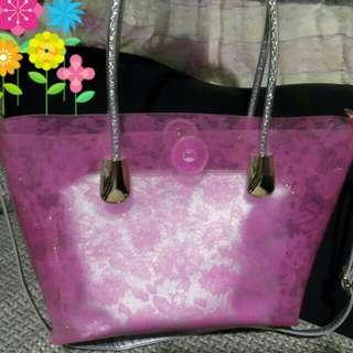 Pink Floral Transparent bag