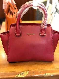 Charles And Keith Trapeze Bag - Red