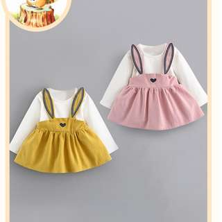 (Ready Stock KL) Baby Clothing Girls Clothing Dress Rabbit Jumpsuit Dress Pleated Skirt (6 months -1.5 years old)