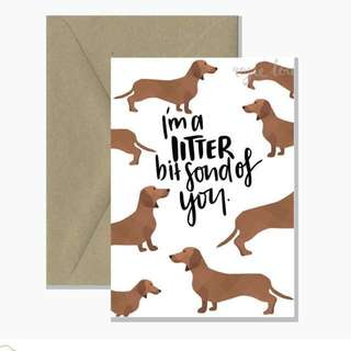 """I'm a littler bit fond of you""love or anniversary card"