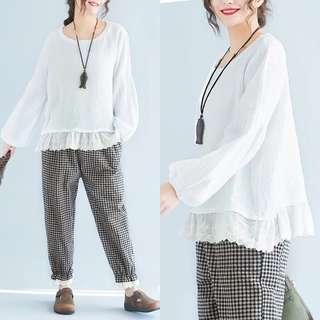 Plus Size Spring lace cotton women shirt