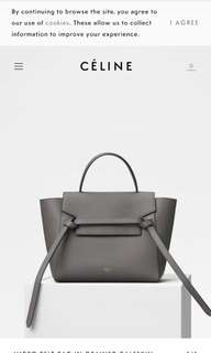 Celine micro belt bag in grey