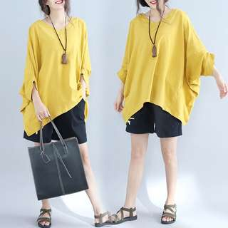 Plus Size Women's loose and comfortable V-neck solid color bat sleeve short-sleeved T-shirt