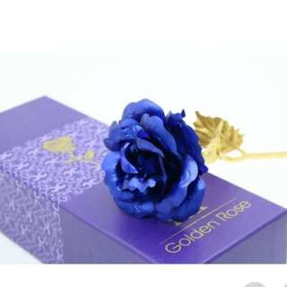 24K Gold Foil Plated Rose - Blue