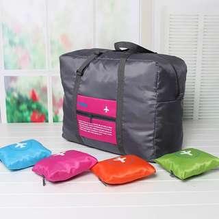 大容量手提旅行包/旅行袋(袋灰色/圖案-紅/橙/綠/藍)