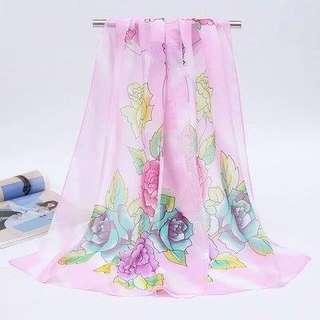 ㊣夏日優質雪紡拼色絲巾 12色選長160cm;寬50cm $50/條