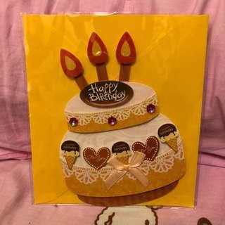 全新立體生日蛋糕造型生日卡2張
