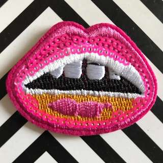 Bn sequins mouth iron on patch