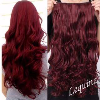 Wine Red Clearance Sales ! 5 Clips Curly hair extensions
