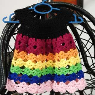 Crochet Rainbow Dress (6-9mths)