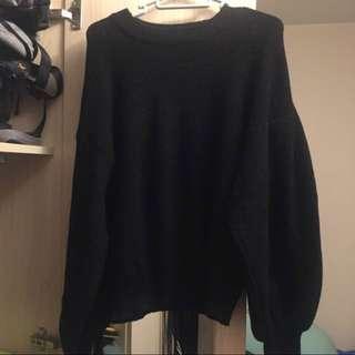 🈹全新日本GU黑色閃銀泡泡袖針織上衣
