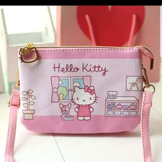 In stock hello kitty design sling bag pouch size 19 × 13 × 3cm