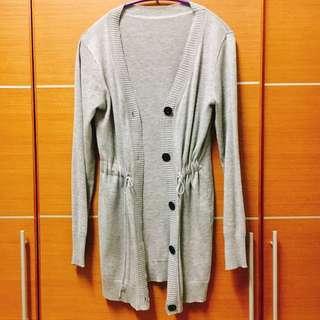 🎉灰色長版棉薄外套