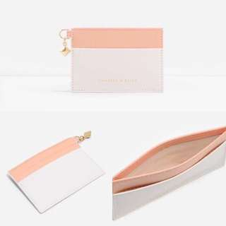 絕版 Charles and Keith duo-tone cream and pink cardholder 粉紅色卡片套
