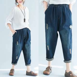 Plus Size New spring and summer loose hole jeans large size wide leg nine points harem pants