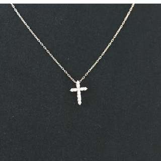 MAN03141 18K黃金十字架碎鑽頸鏈/鎖骨鏈