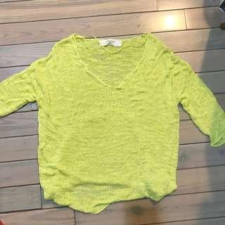 zara 檸檬黃綠V領一字領斜肩針織上衣