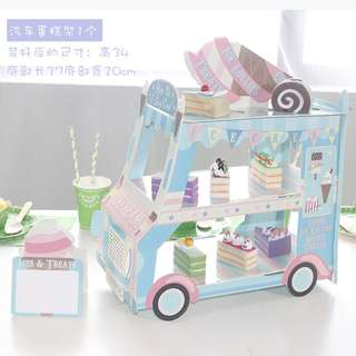 3 layer bus birthday dessert stand